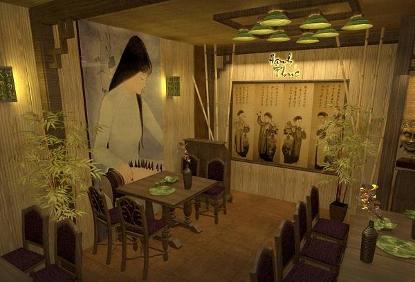 Thiết kế nhà hàng gỗ kết hợp với cây xanh