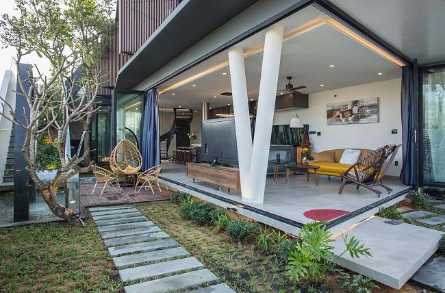Nhà gỗ có vườn trên sân thượng