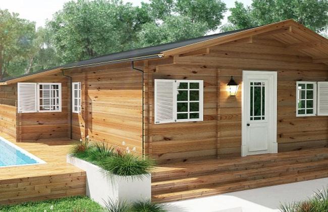 Nhà vườn gỗ có bể bơi